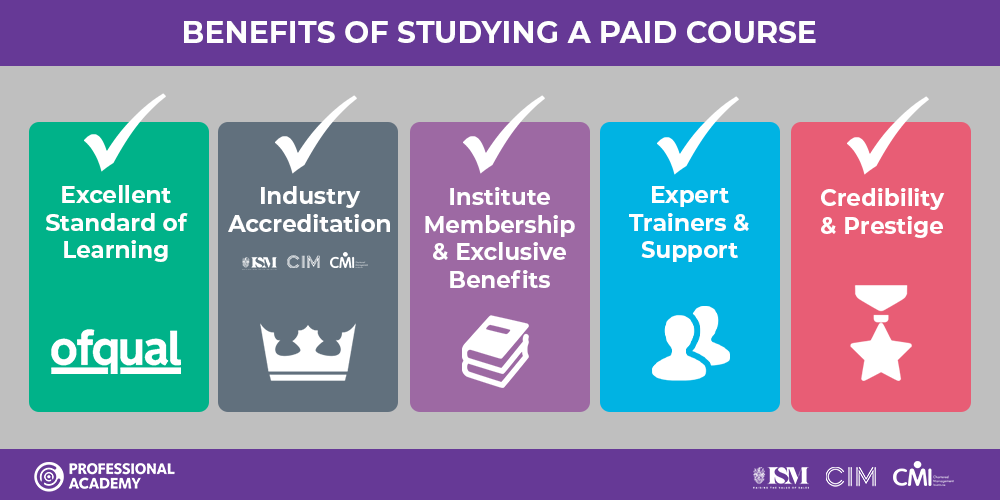 Benefits of studying a paid course or qualification