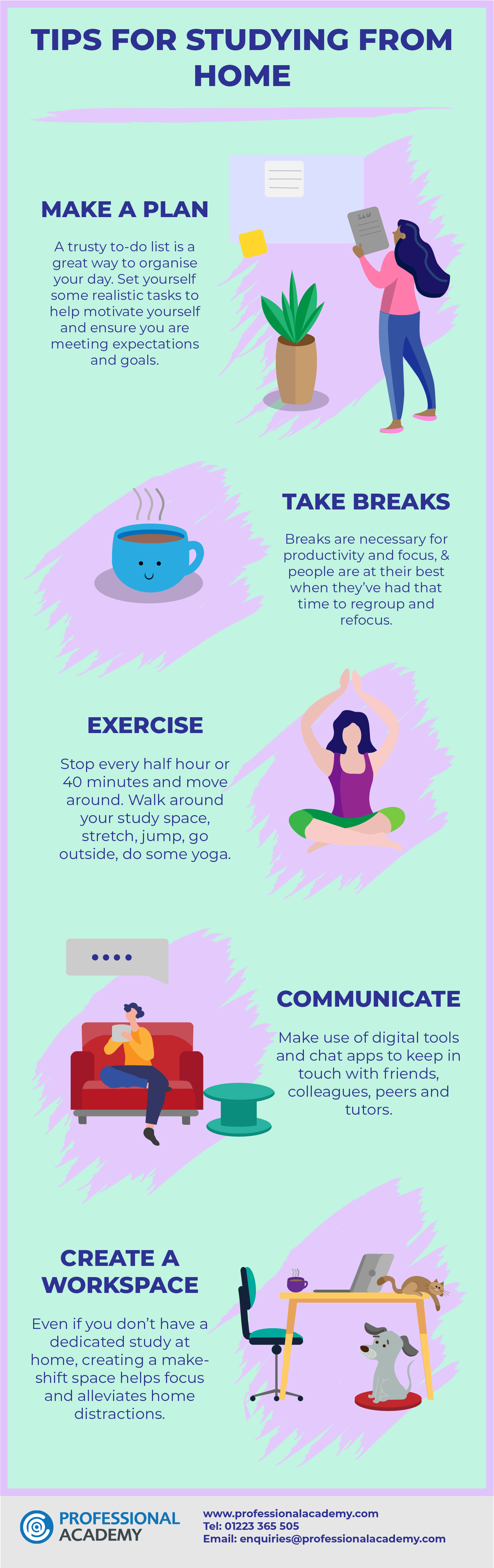 Tips on studying from home infographic